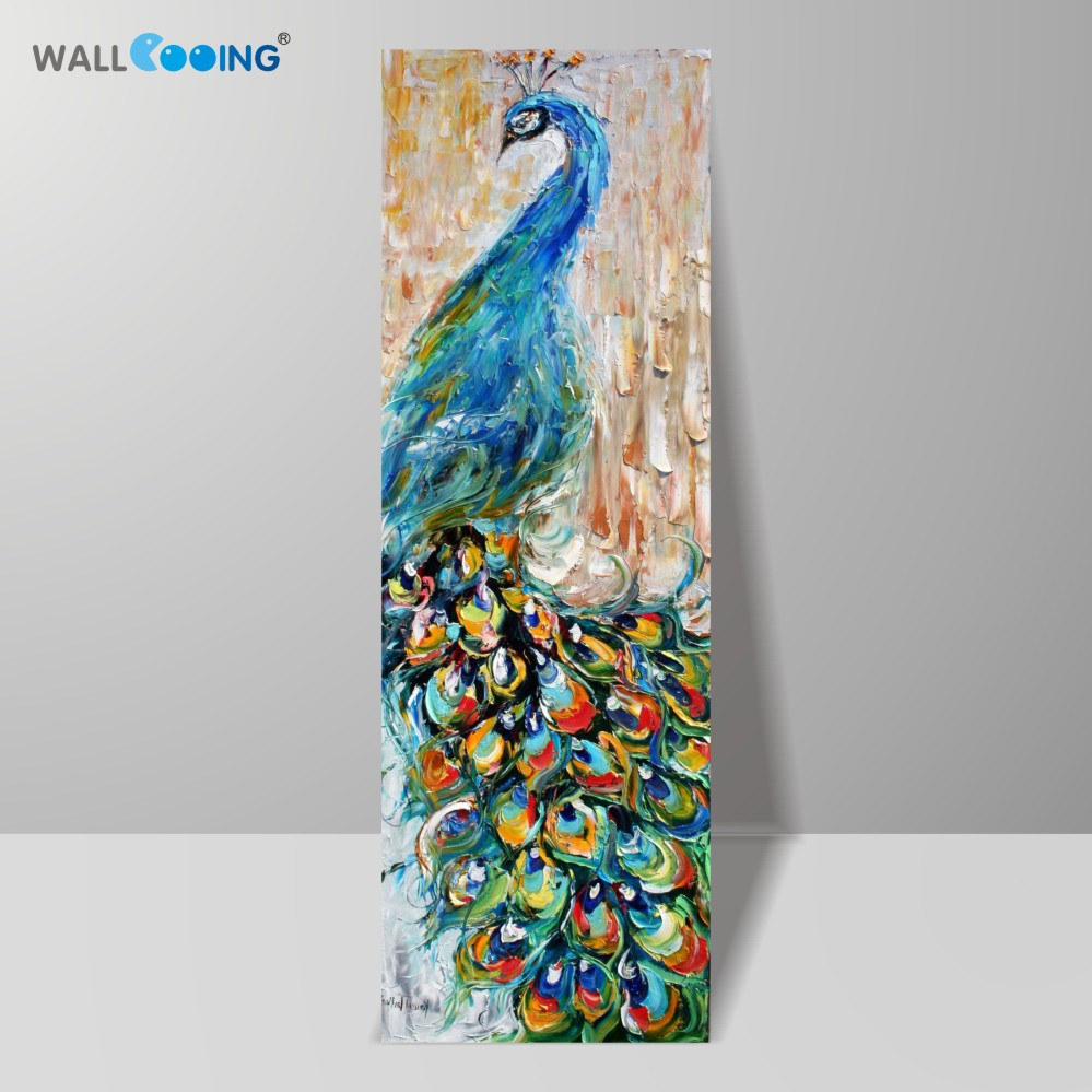 Cuțit de pânză pictat manual 100% pop art animal pictură în ulei Peacock Poze decor modern imagine acasă Colorful Mare verticală