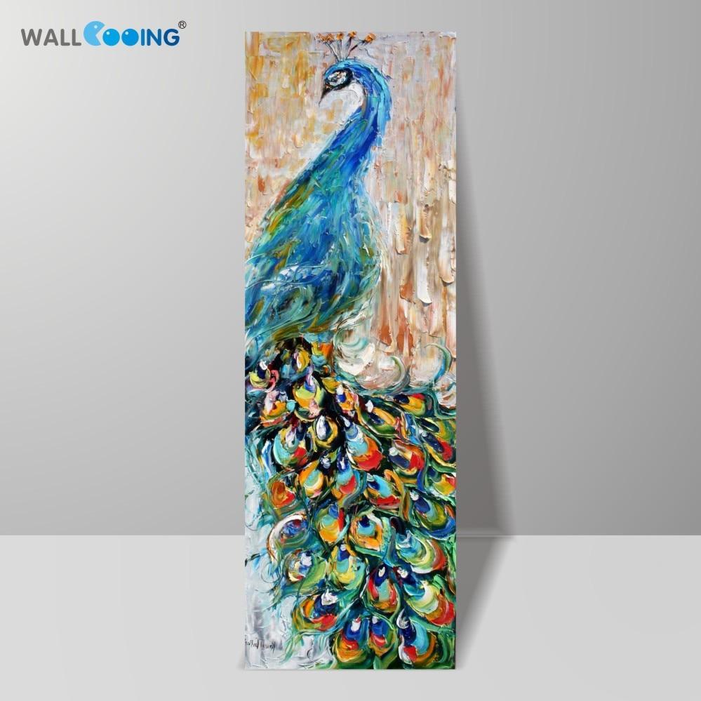 100% handgemalte Leinwand Messer Pop-Art Tier Ölgemälde Pfau Bilder modernen Dekor Bild nach Hause bunte große vertikale