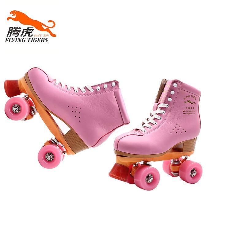 Здесь продается  Double-row four-wheel leather cowhide pink skates special fancy men and women skate shoes  Спорт и развлечения
