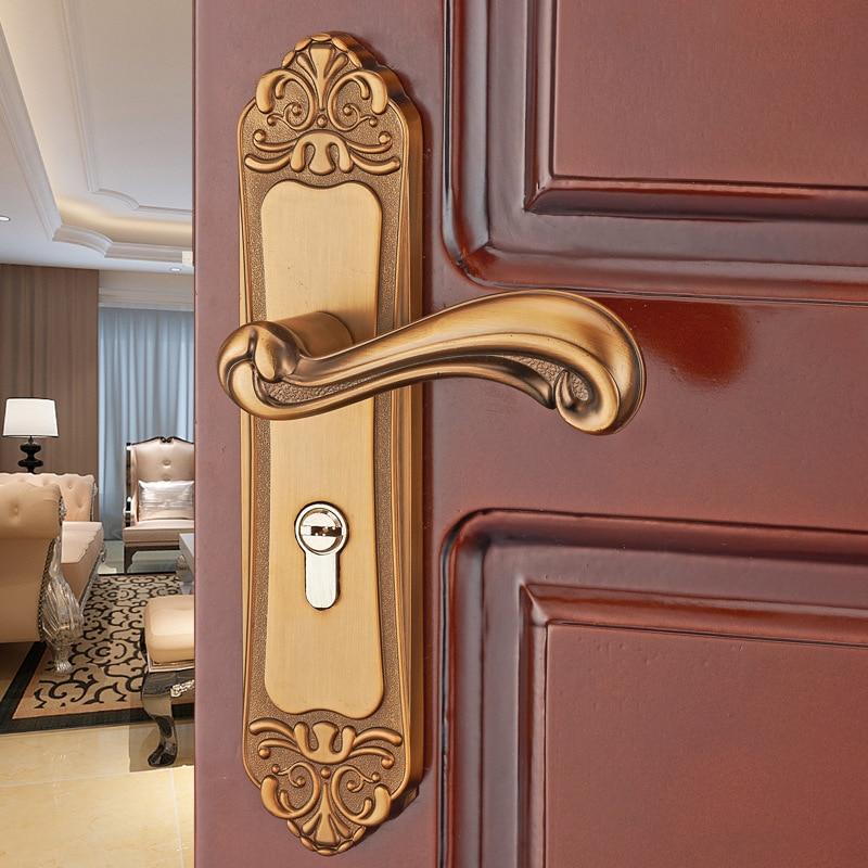 Aluminum alloy bedroom bedroom door lock simple bathroom door handle European wooden door lock engineering support цена 2017