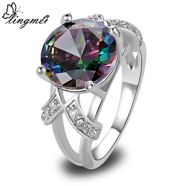 lingmei Mystic Rainbow Green Purple CZ Multi- AAA Silver Ring Fashion Women Jewe
