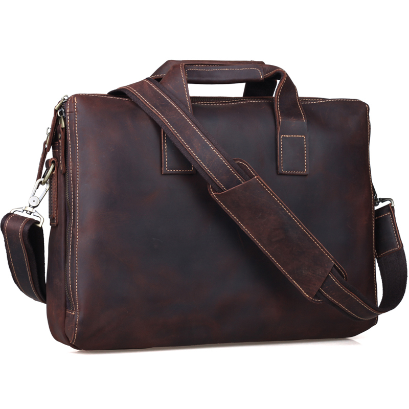 TIDING Retro Genuine Crazy Horse Leather Men Messenger Bag Handbags Briefcase Shoulder Bag Business 15 Laptop Crossbody Bag joyir men briefcase real leather handbag crazy horse genuine leather male business retro messenger shoulder bag for men mandbag