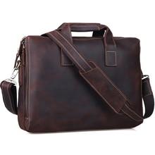 TIDING Retro Genuine Crazy Horse Leather Men Messenger Bag Handbags Briefcase Shoulder Bag Business 15″ Laptop Crossbody Bag