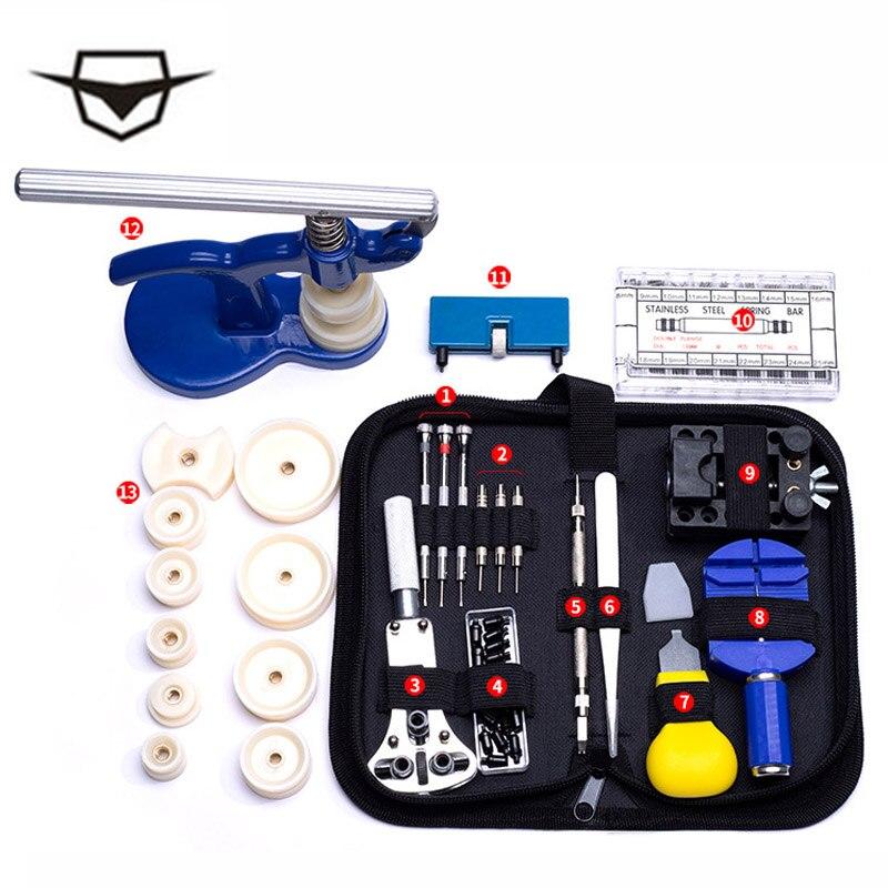 Top 144 pcs montre outils ouvre-montre dissolvant ressort Bar réparation Pry tournevis horloge montre réparation outil Kit horloger outils pièces