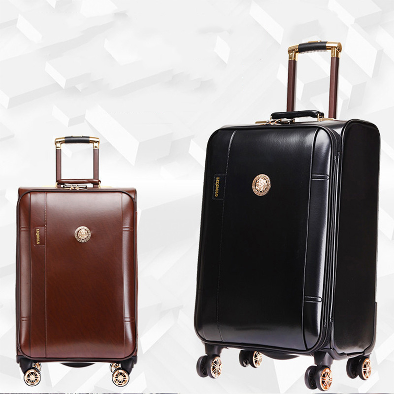 LeTrend PU Leather Rolling Luggage Spinner Men Business Trolley Women Password Suitcase Wheels 20 inch Cabin