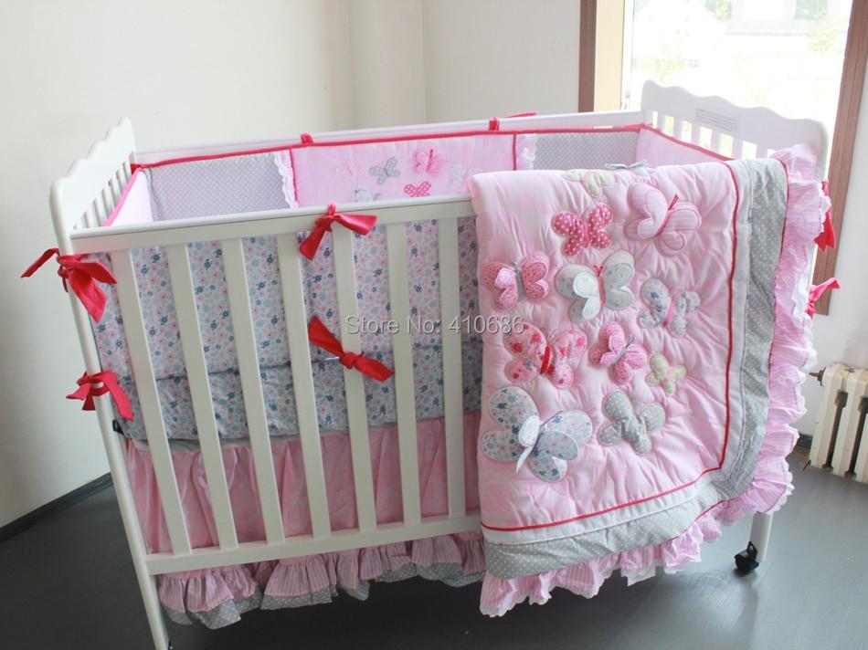 elegant princess baby crib bedding sets 7pcs nursery cot kit set 3d pink butterflys lace quilt
