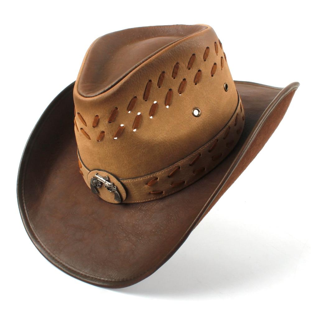100 Leather Men Western Cowboy Hat For Dad Gentleman Sombrero Hombre Jazz Caps Size 58 59CM