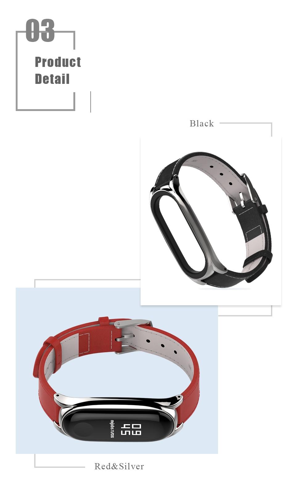 Strap For Xiaomi Mi Band 3 Genuine Leather Wrist Straps 2 Kulit Asli Stainless Elegant 1 04