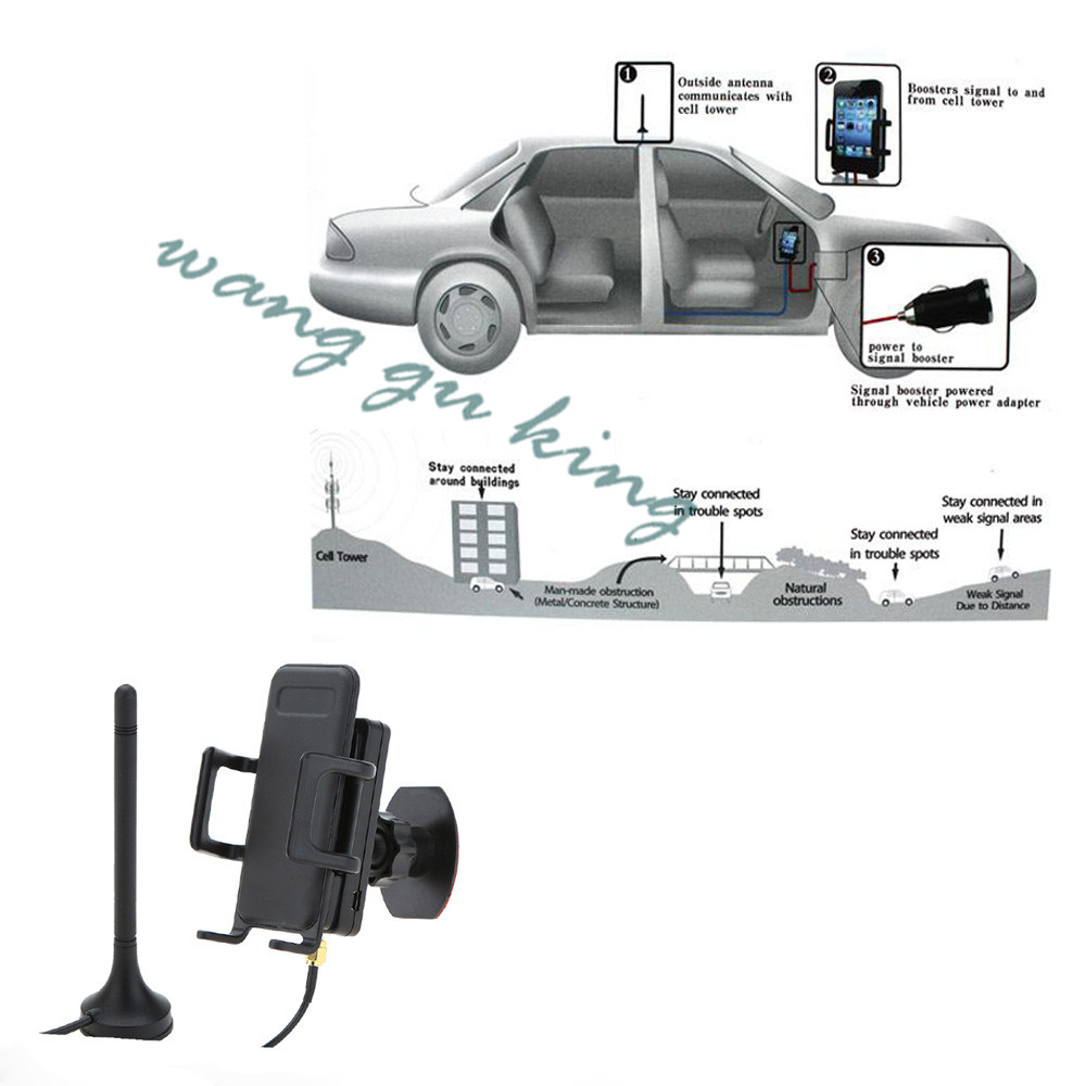 3G 2100MHz GSM WCDMA Cellular Cellphone Signal Booster Car Phone Signal Amplifier LED Power Indicator USB Charger Mount Bracket