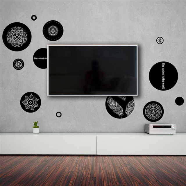 office Geometric patterns wall stickers TV living room bedroom ...