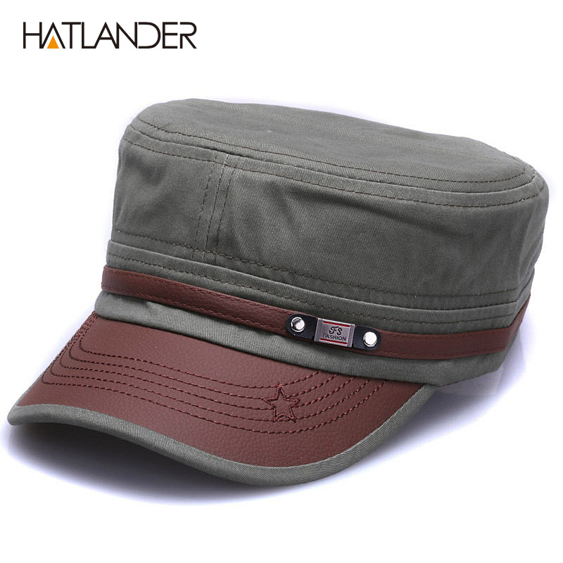 [HATLANDER]New Fashion Cotton Military Hats For Men Women Adjustable Flat Top Army Caps Naval Vintage Solid Visor Sun Hat Gorras