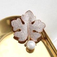 Autumn maple leaf new exquisite retro temperament all match imitation pearl brooch brooch pin female 4.9cm*4.5cm