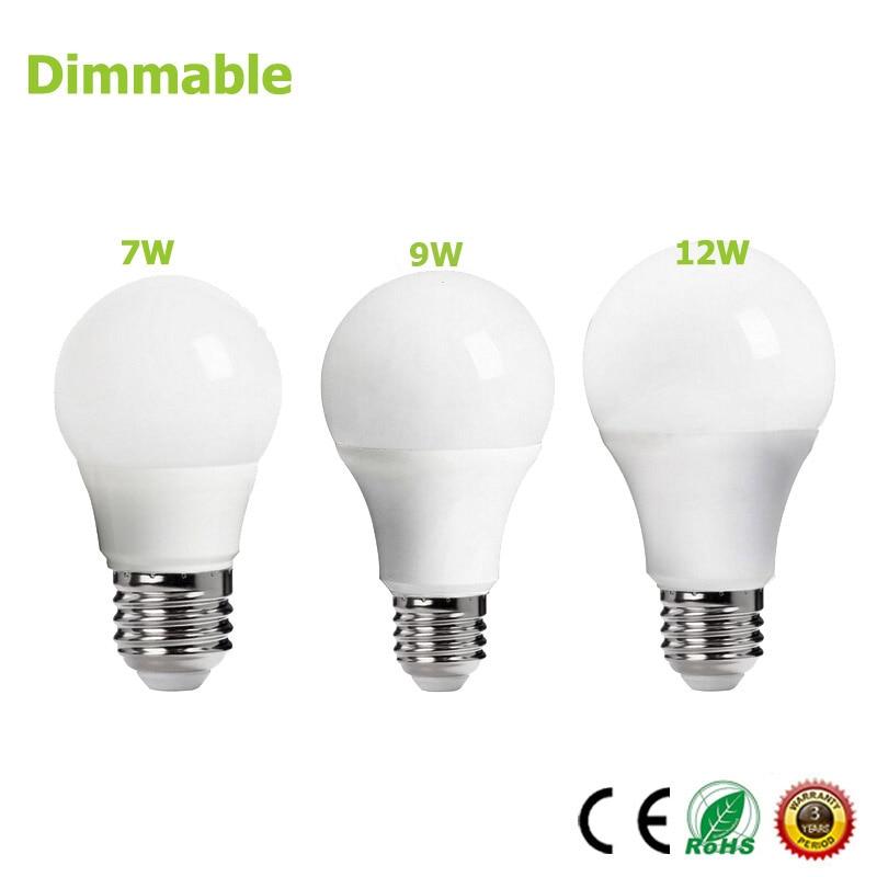 E27 Dimmer bulb 85-265V 7W 9W 12W Energy Saving Bright Smart LED Light lampada dimmable bulb led foco lamparas Dimming Bulb 50pcs e27 5w 7w dimmable led bulb high power led energy saving lamp 7w dimming led bulbs light dhl
