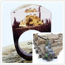 CCOR Handmade Resin Wood Ring And Necklace Limpidity Gold All over the ground Scenery Plant Wonderland R15