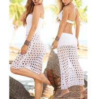 Bikini 2017 Sexy Wrapped Chest Hollow Knitted Mesh Blouse Bikini Swimsuit Sunscreen Beach Skirt Brazilian Bikini