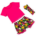 Summer little girls clothing ,hot pink floral girl clothing set ,t-shirt short headband 3pcs baby girls outfit set