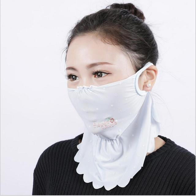 NEW Summer Spring neck protection face mask sun protective Shade anti-dust mouth mask silk Mouth-muffle Mask Flu Face masks 2