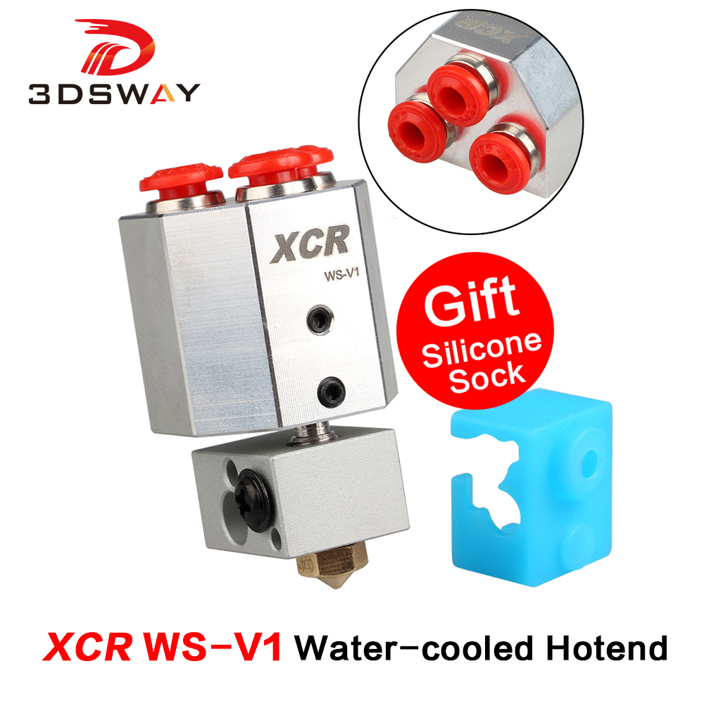 3DSWAY 3D Printer Parts XCR WS-V1 Water-cooled Hotend All Metal Bowden-fed 0.4/1.75 Water Cooled For Titan MK8 Extruder PLA ABS