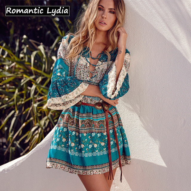 6e3591c4a56 Wome 2018 Summer Sexy Boho Chic Floral Print Ethnic Bohemian Mini Short Dress  Vintage Loose Tie-Waist Vestidos Plus Size