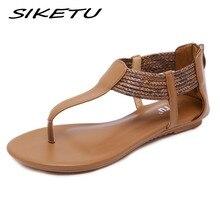 SIKETU 2019 Women Flat Retro Gladiator Sandals Shoe