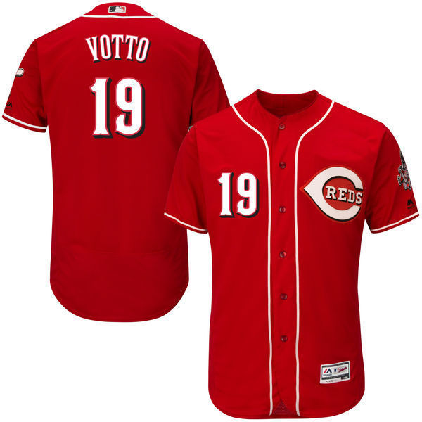 MLB Mens Cincinnati Reds Joey Votto Baseball Alternate Scarlet Flex Base Authentic Collection Player Jersey