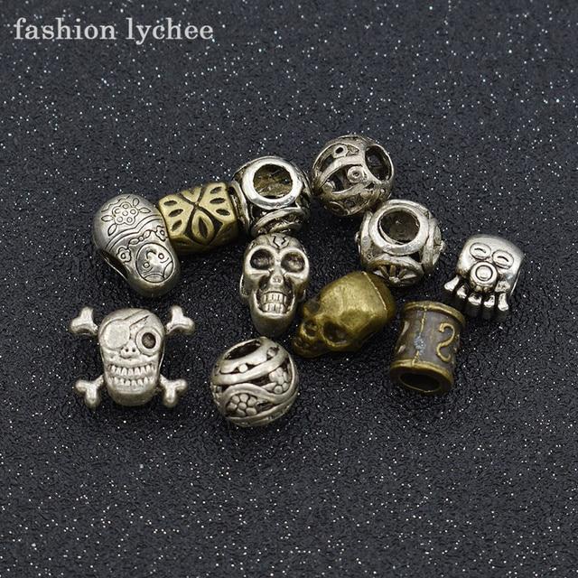 Fashion Lychee 11pcs Vintage Viking Skull Dreadlocks Beads Set Women Men Unique Hair Extension Tools