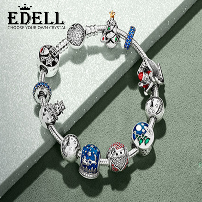 EDELL Book Di 925 Sterling silver Winter Christmas Bracelets Suit Charm Bead Clear CZ Fit DIY Original Charm Pand Free 925 sterling silver sea turtle charm beads fit bracelets original animal turtle clear cz bead diy jewelry pas147
