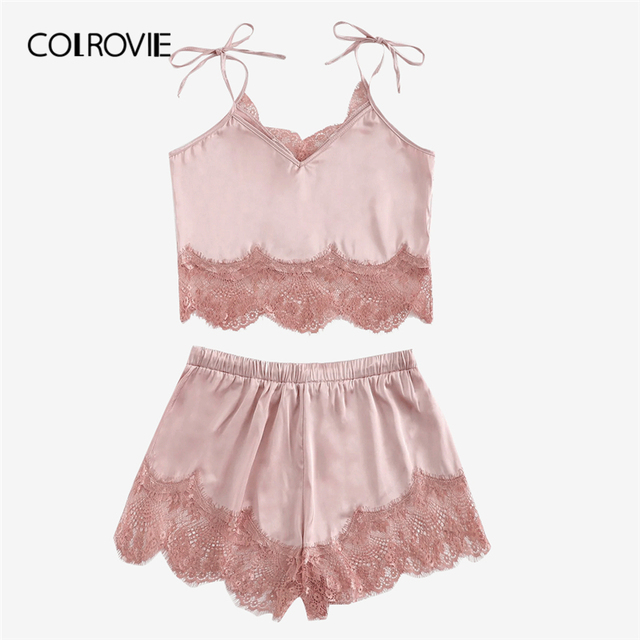 COLROVIE Pink Solid Sexy Satin Contrast Lace Cami Top And Shorts Thong Women Nightgown Red Lingerie Pajamas Set Female Sleepwear