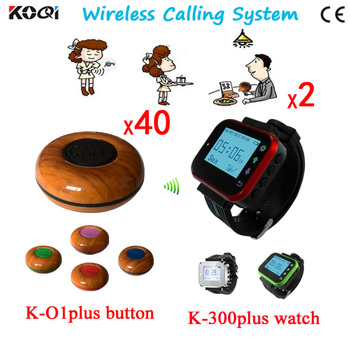 Guest Bell Button Service Device 2pcs Watch Receiver Wrist+40pcs Transmitter Pager DHL Free Shipping CE