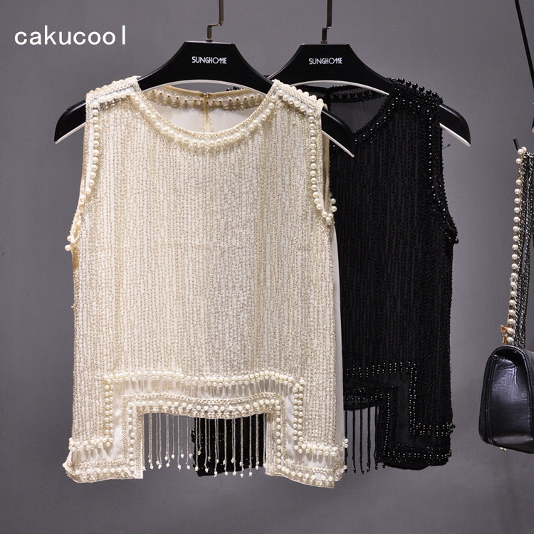 Cakucool Women Beading Blouse Shirt Sleeveless Summer Chiffon Tops Pearl Tassels Cute Sexy Girls Blusas Top Shirts