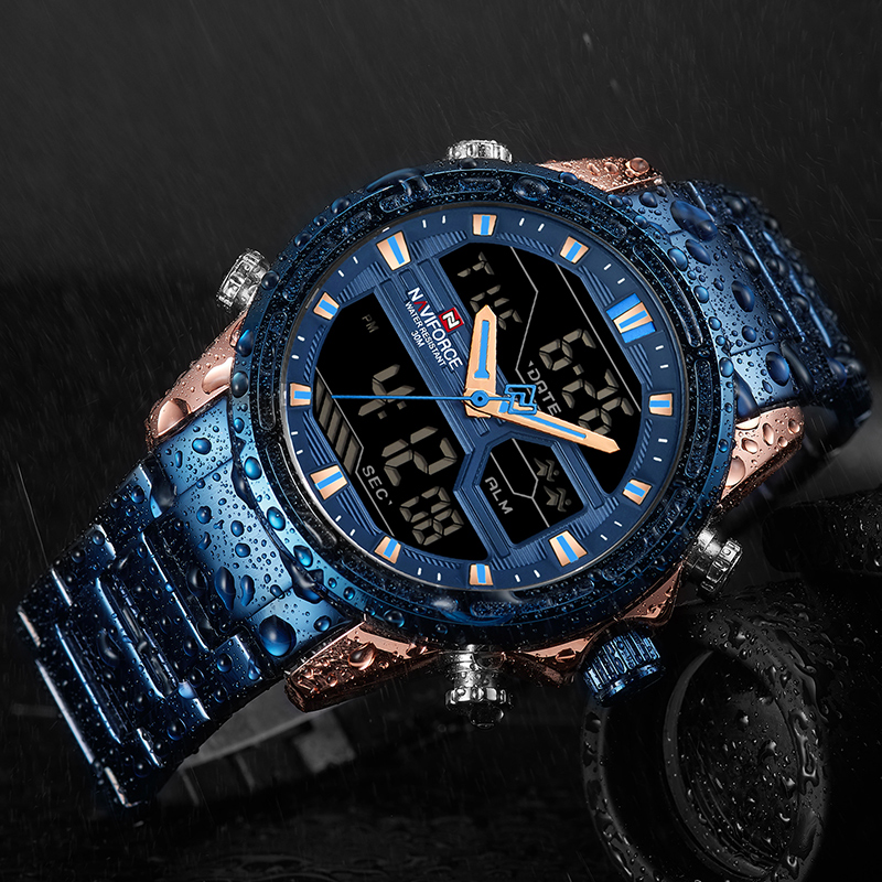 Men Sport Watches Men's Quartz LED Digital Clock Male Full Steel Military Wrist Watch  2019