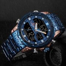 NAVIFORCE أفضل ماركة الرجال الرياضة الساعات الرجال الكوارتز LED ساعة رقمية الذكور كامل الصلب العسكرية ساعة معصم Relogio Masculino 2020