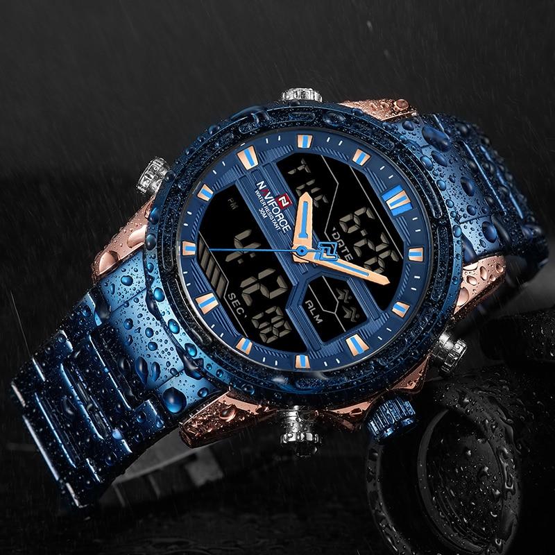 Naviforce marca de topo dos homens relógios do esporte dos homens quartzo led relógio digital masculino aço completo militar relógio pulso relogio masculino 2019