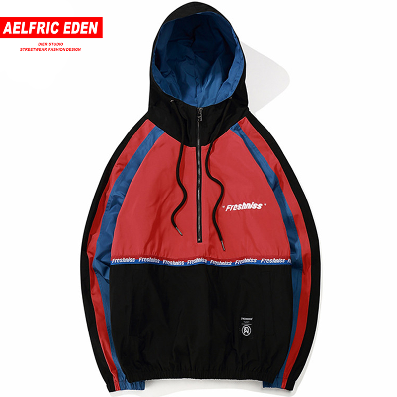 Aelfric Eden Men Thin Hoodies Sweatshirts Side Striped Hooded Jacket Tracksuit High Street Coats Hip Hop Windproof Outwear Fs624