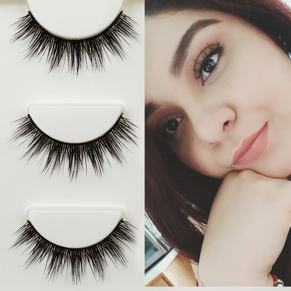 3 Pairs False Eyelashes Cilios Thick Natural Faux Mink Lashes Handmade Makeup Beauty Fake Eye Lashes Extension Maquiagem Tools