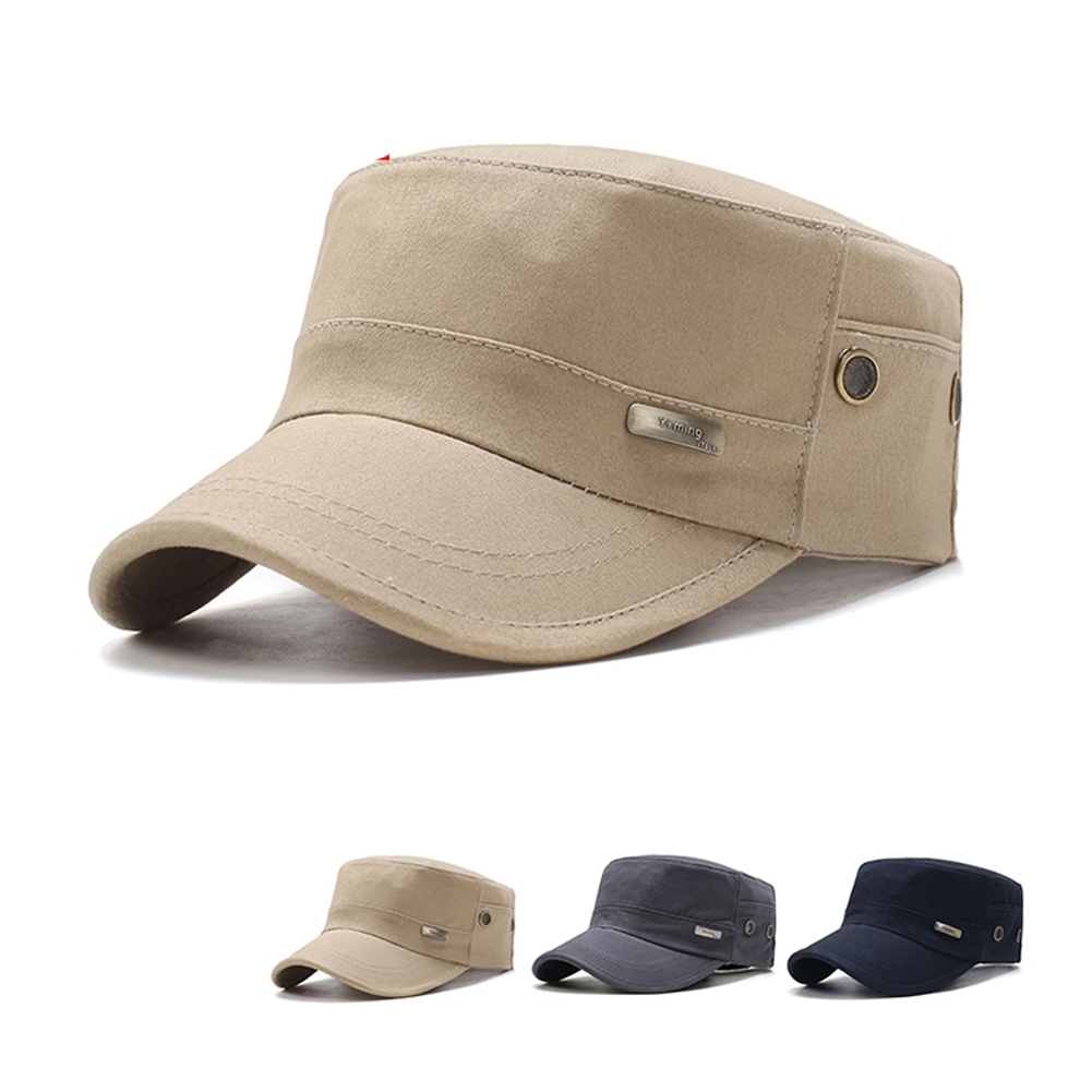 82a371e7 Men Spring Sunproof Army Caps Flat Top Adjustable Summer Military Hat  Fashion Classic Casual Baseball Cotton