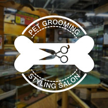 Pet Shop Window Sticker Grooming Beauty Salon Cat Dog Bone Scissors Vinyl Glass Wall Decal Logo Banner Mural Wallpaper 3W38 цены