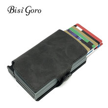 BISI GORO 2019 Men And Women 2 Metal Credit Card Holder Aluminium RFID Blocking PU Wallet Hasp Mini Vintage Wallet Hold 14 Cards(China)