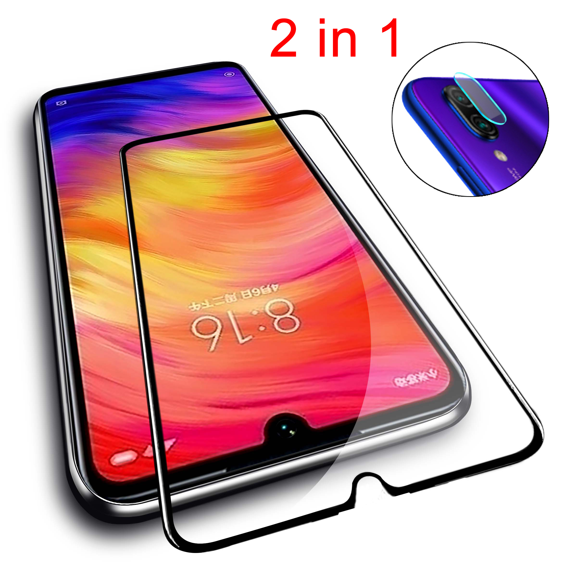 2 in 1 Tempered Glass for Xiaomi <font><b>Redmi</b></font> <font><b>Note</b></font> <font><b>7</b></font> Camera <font><b>Lens</b></font> Protective Glass on the Xiomi <font><b>Redmi</b></font> <font><b>7</b></font> Note7 redmi7 HD Screen <font><b>Protector</b></font> image