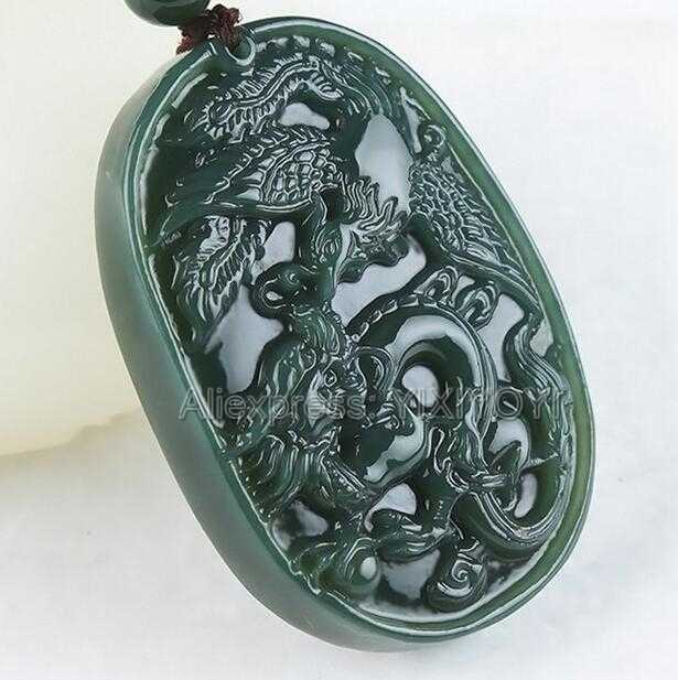 Beautiful Natural Dark Green HeTian Jade Carved Chinese Dragon Phoenix Lucky Amulet Pendant + Free Necklace Fine Jewelry