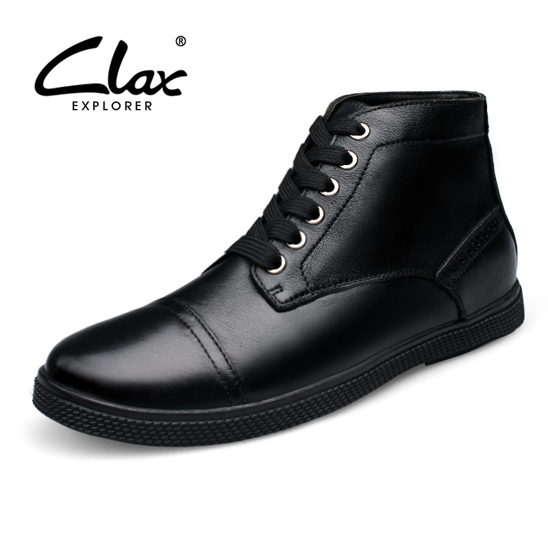 CLAX Men Casual Boots Fashion Black Dress Shoe 2017 Winter Plush Fur Snow Shoes Male Genuine Leather Ankle Boot Handmade Classic 2016 hot sale male snow boots genuine leather ankle suede snow boots winter shoes for men and women mens boot shoe 35 48