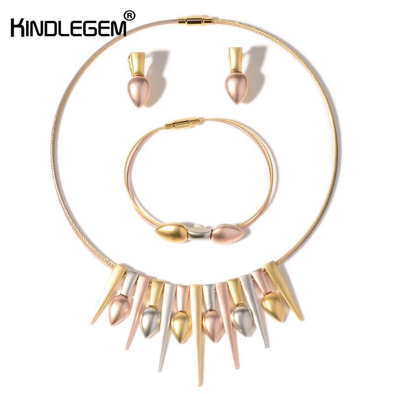 Kindlegem italie argent Rose or trois couleurs ton bijoux mode glands Boho pendentif boucles d'oreilles Bracelet ensemble pour les femmes pas de décoloration