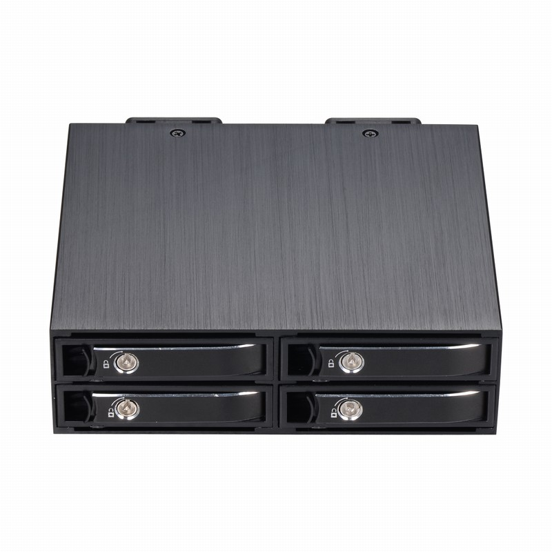 Uneatop 4x <font><b>2.5</b></font> inch Removable Tray MiniSAS Internal Backplane SSD HDD Enclosure for 5.25in Optibay Drive Rack image