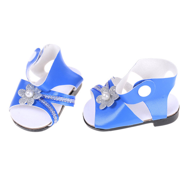 fddc7fa0dc9a Cute Blue Sandals Summer Doll Shoes Fit 43cm Baby Born Doll and 18 inch  American Doll Doll Accessories BJD Doll