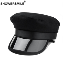 SHOWERSMILE Brand 2019 Women Military Hats Black Tweed Flat Caps Female Solid Casual Captain Hat Ladies Autumn Winter Army Cap