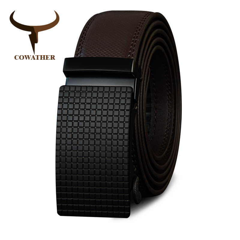 COWATHER Cow oryginalne pasy skórzane wysokiej jakości dla mężczyzn automatyczny Vintage męski pasek marki klamra regulująca pasy 110-130cm długości