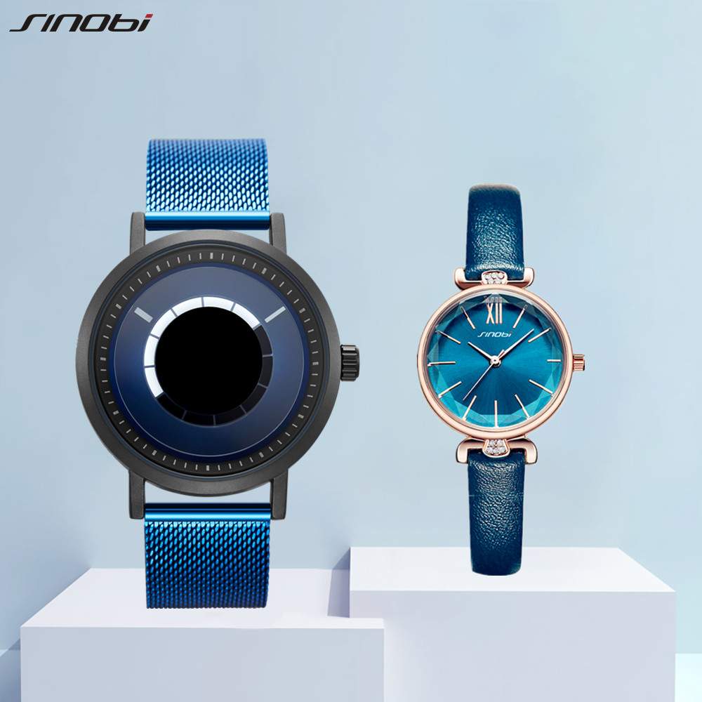SINOBI New Lover's Watches for Men and Women Fashion Quartz Wristwatch Creative Clock Couple Watch Gifts Set for Sale relogio