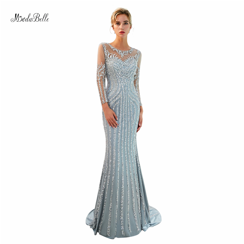 Modabelle Grey O-neck sexy   Evening     Dress   abendkleider formal   dress   women elegant mermaid   evening   gown vestido de festa longo