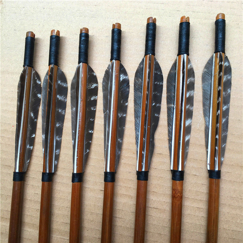 12pcs traditional bamboo arrows feathers for recurve bow hunting and archery