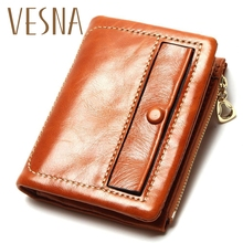все цены на Oil Wax Leather Women Genuine Leather With Hasp Wallet Holder New Short Wallet Women's Zipper Coin Purse Candy Color Wallet онлайн
